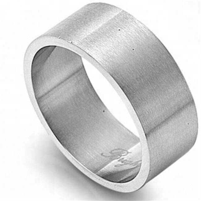 Yiwu Aceon Stainless Steel Satin Finished Flat Surface Logo Engraved Unisex 10mm Engravable <strong>Ring</strong>