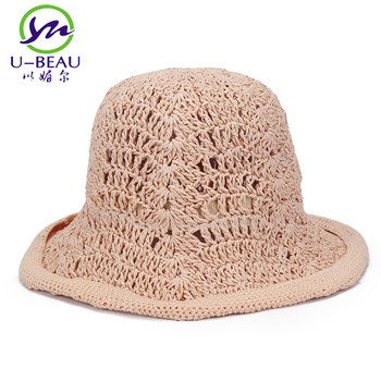 664f28c3806 2017 Crochet Straw Hat For Women Foldable Floppy Sun Hats Summer Wide Brim  Bow Decoration Female