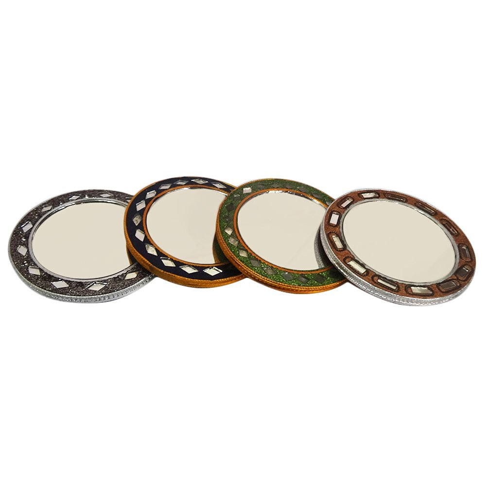 Indian Table Top Decorative Makeup Mirror Handmade Lac Beaded Material Home Décor Antique Mirror Vanity Travel Women Cosmetic Pouches Mirror