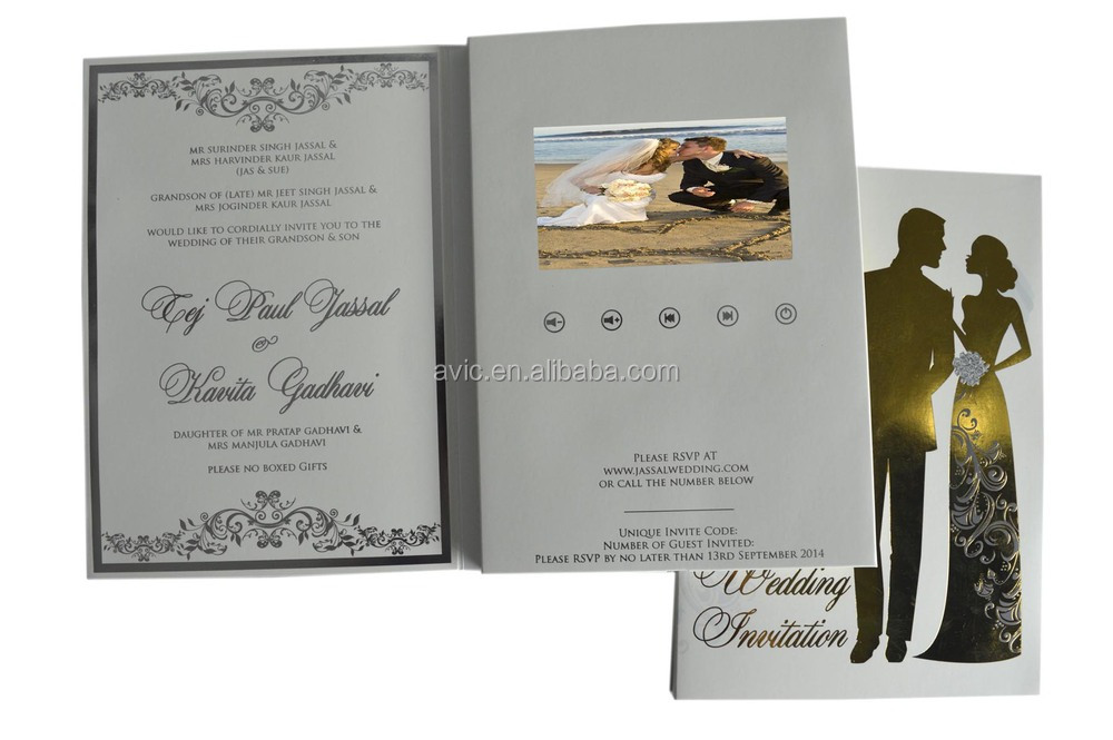 2018 New 4 3 Inch Modern Wedding Invitation Gift Lcd Video Brochure Luxury Cards