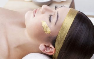 Gold Leaf Face Mask Applied to Skin
