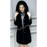 Fashion design winter lady black hooded style women long sheep shearling coat with real fox fur collar