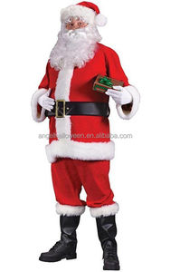 Wholesale Red Full Suit Santa Claus Father Christmas Costume costume for adult AGM206