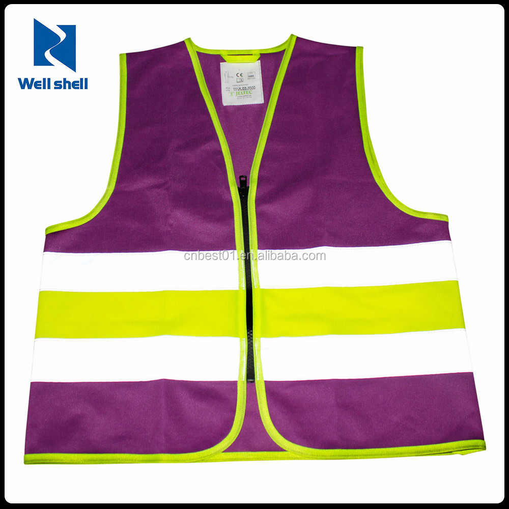 Hi-Vis Waistcoat Vest Jacket safety reflective vest women purple safety vest