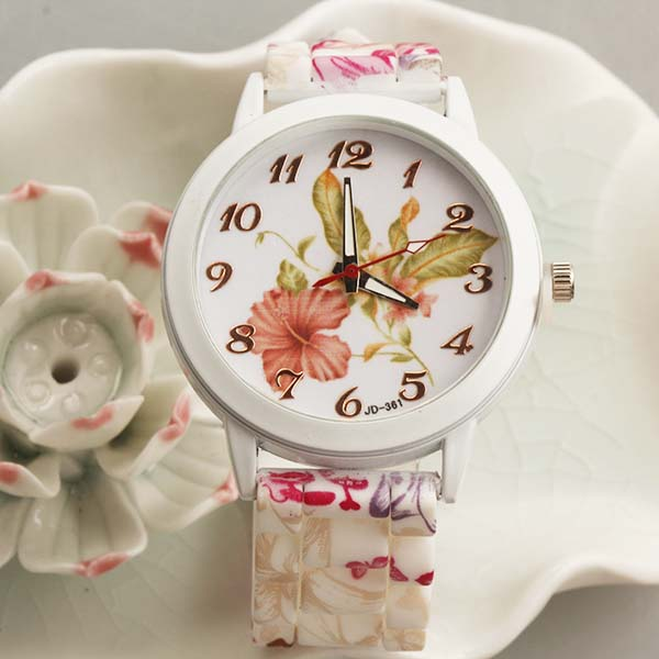 Flower New Design Fashion Girls watch with Silicone Watch band