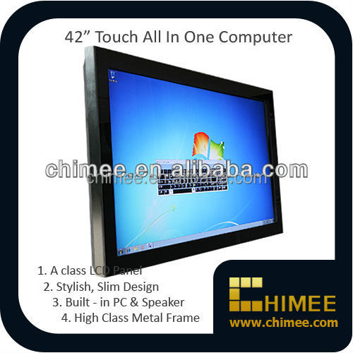 42 inch wall hanging all in one computer touch screen lcd displayer with 1037U/I3/I5/I7 solutions