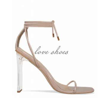 17866e9cc7eb Nude color ladies New fashion Clear Slim Block Heels girls sandals square  toe rope Lace Up