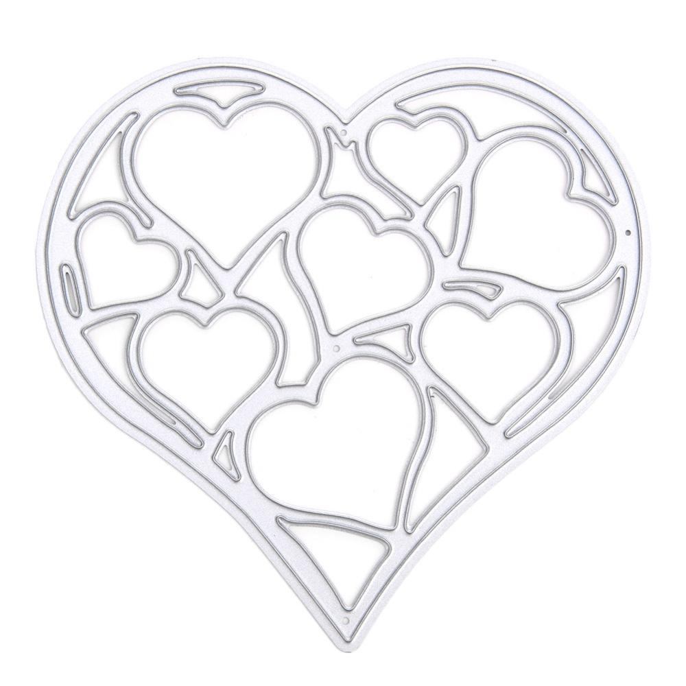 Hollow Out Steel Heart Cutting Dies Stencils For DIY Scrapbooking Photo Album Embossing Decorative Craft DIY Paper Cards