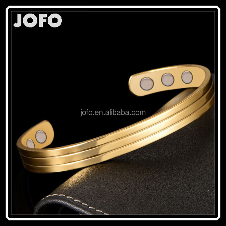 2016 Gold popular style magnetic copper bracelet men new simple trends