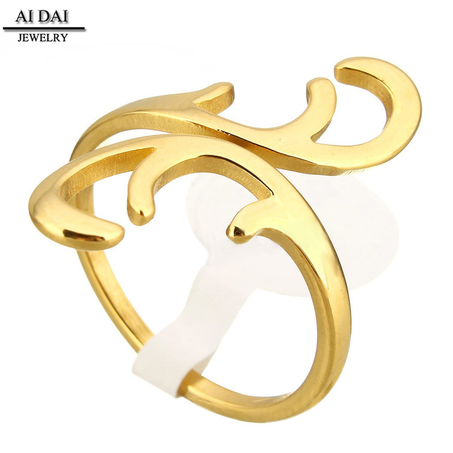 fashion jewlry 18k gold-plated Stainless Steel Open Finger Ring women