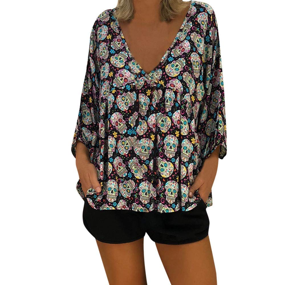 ebeeccf131f606 Get Quotations · Women's Floral Print Blouse Tops 3/4 Sleeve Shirts Casual  Blouses Sexy Tops Tunics