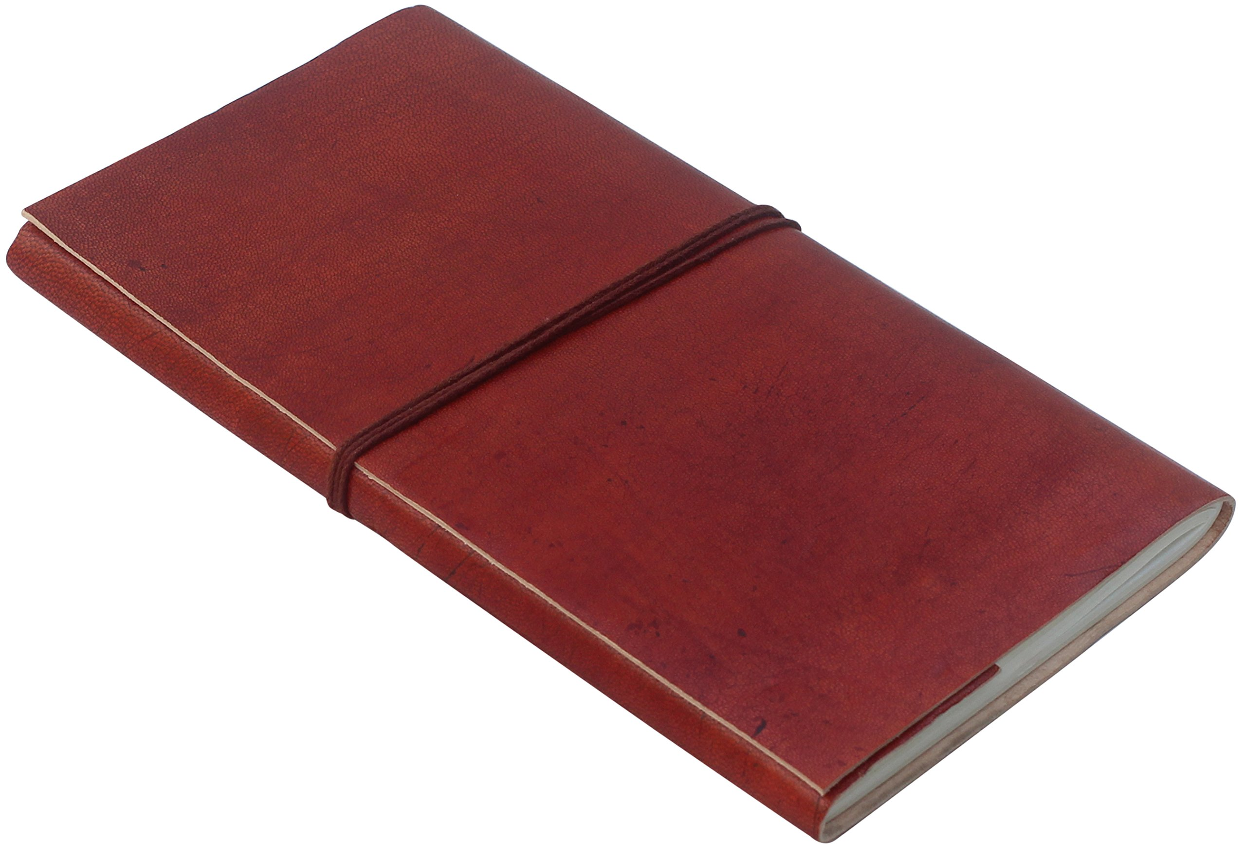 """Leather Journal Writing Notebook - 9"""" x 5"""" Beautiful Handmade Brown Color Leather Writing Journal with Cotton Thread Strap - Unlined Paper - 48 Sheets 96 Pages - Perfect Travel Journal to Write in"""