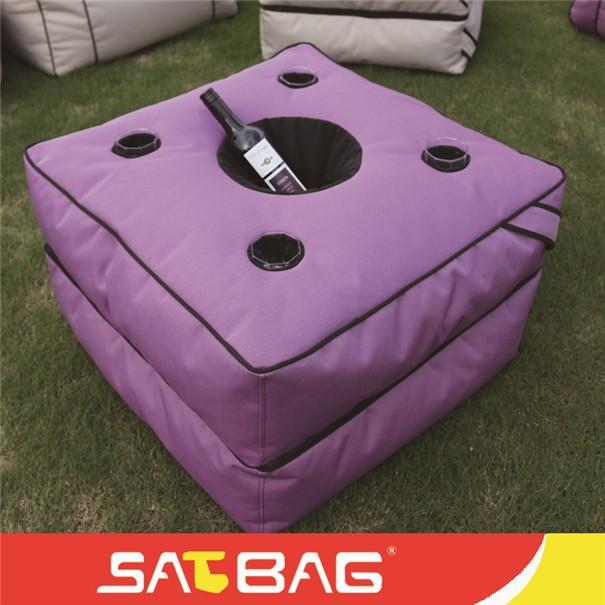fashion design square folding outdoor drinking table bean bag