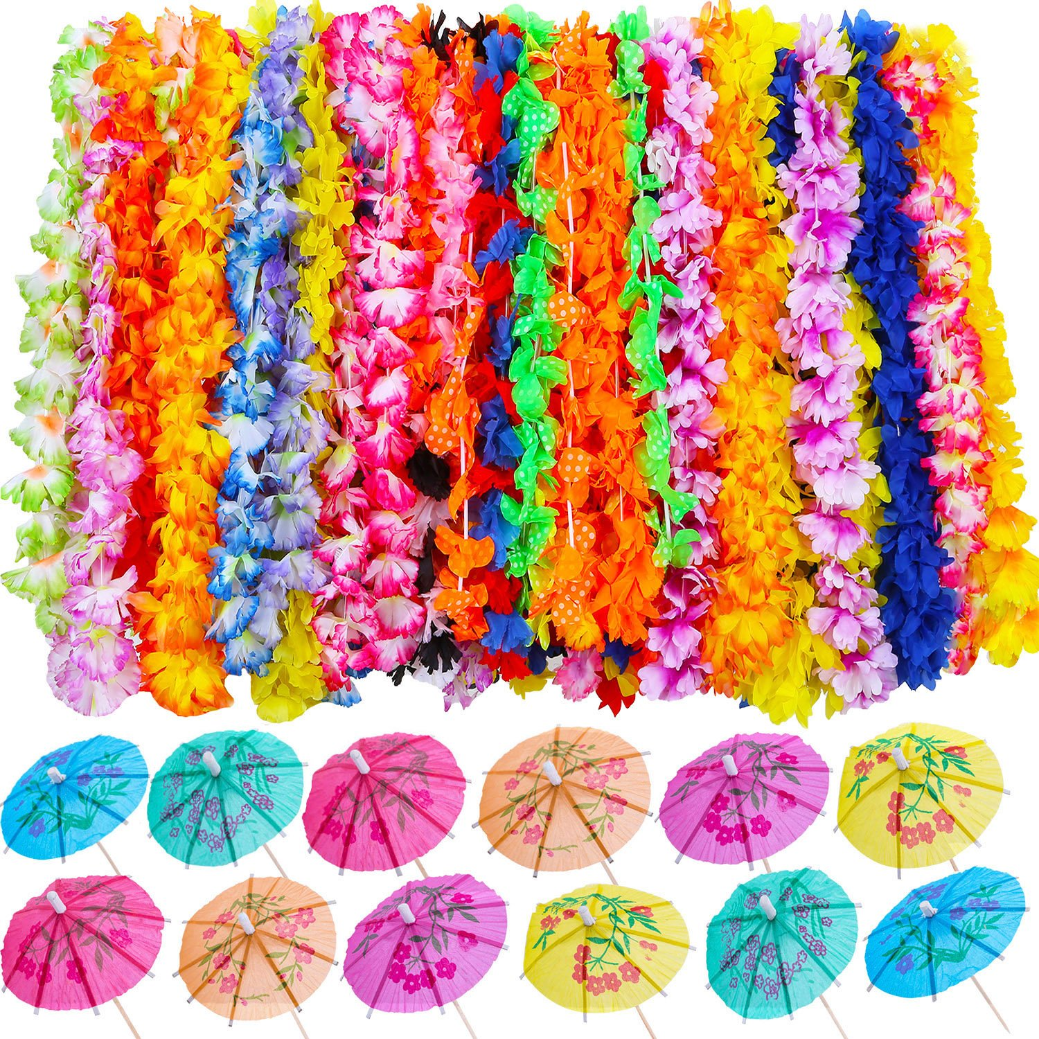 Blulu 100 Pieces Luau Party Supplies Includes 50 Pieces Hawaiian Ruffled Flower Leis and 50 Pieces Mini Paper Umbrellas for Beach Theme Party, Birthday