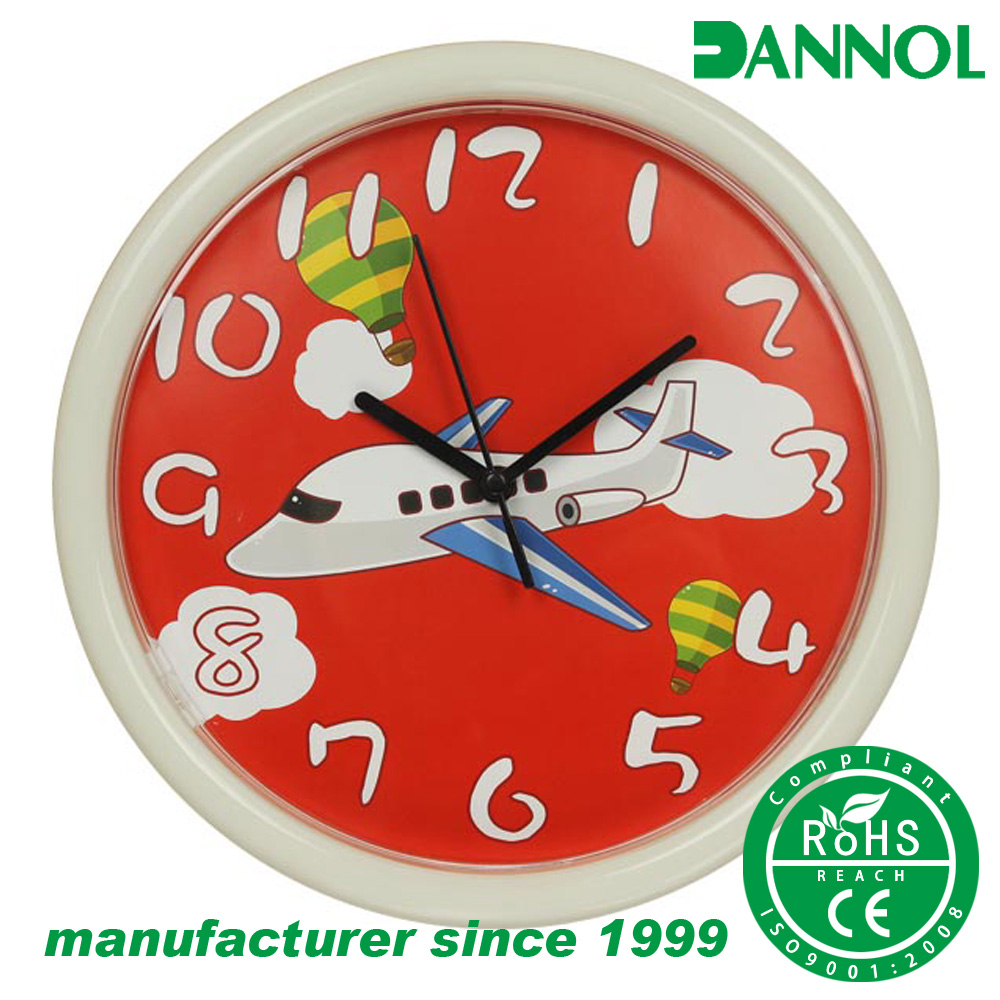 "Plane theme 10"" plastic children safe material unbreakable plastic wall clock for kids"