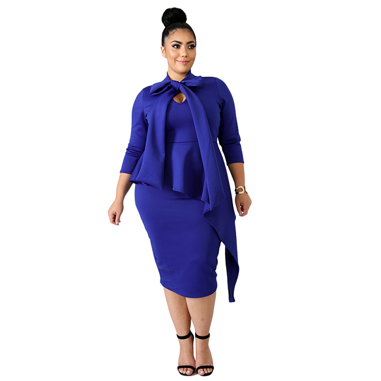 Trade Assurance Ladies Hot Fashion Evening Party Night Bowknot Mock Neck Bodycon Sexy Club Dresses for Plus Size Women