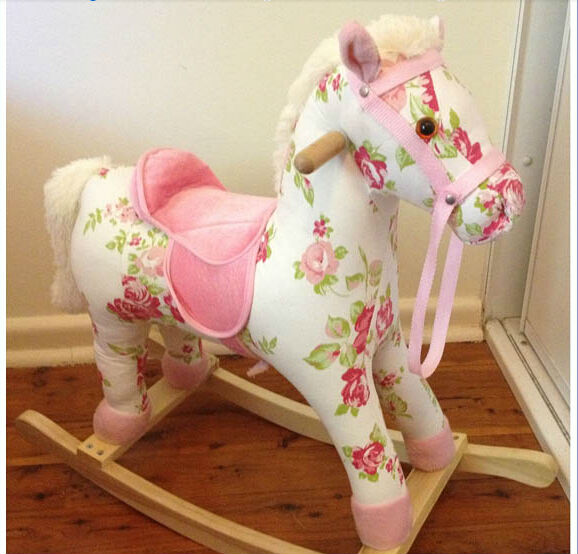 L95*H75*W29cm promotional customized stuffed printing fabric children rocking horse toy with wooden base&music