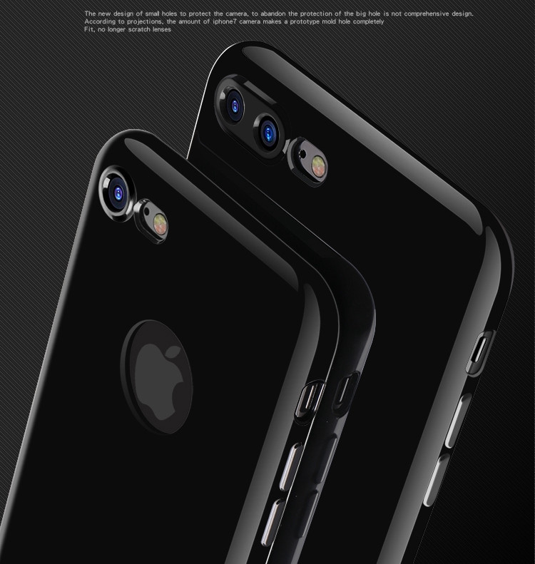 Free Ship, Jet Black for iphone 7 Case Silicone TPU Soft Thin Cover mobile i Phone7 Case for apple iphone7 plus Logo Hole