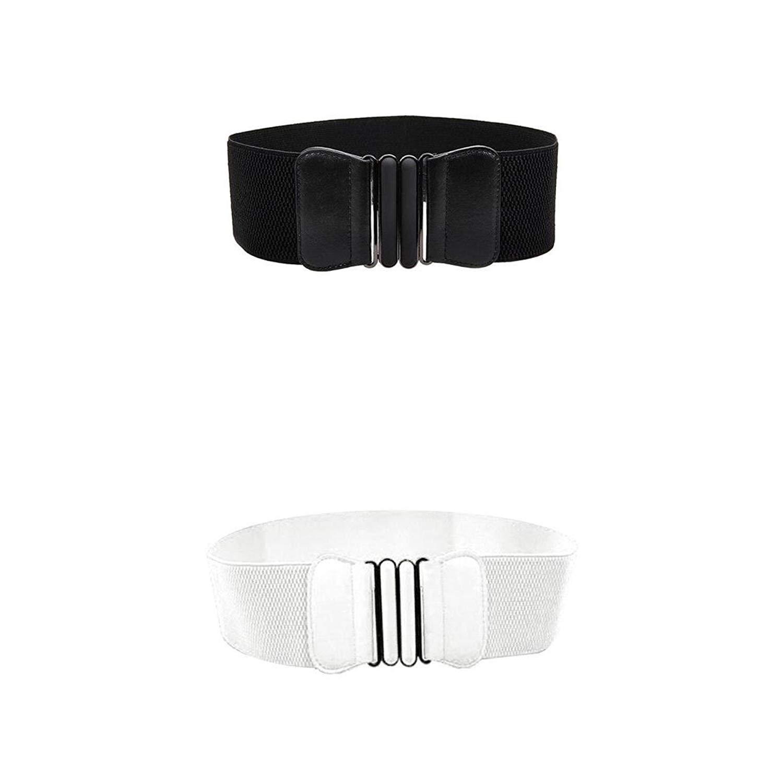 Prettyia 2pcs Ladies Elastic BowKnot Wide Stretch Dress Belt Buckle Waistband High Waist Belt