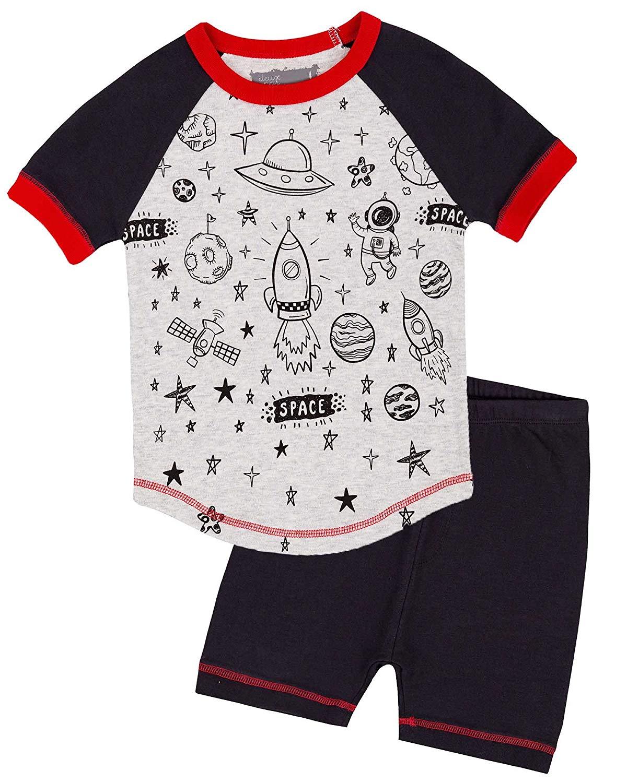 ea342c2dbb8 Get Quotations · Deux par Deux Boys  Shorts and Space Print T-Shirt Pyjamas  Set