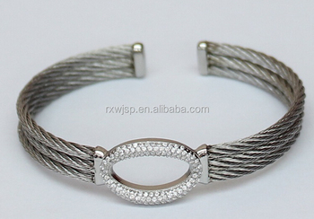 New Eternal Design Charm 316L Stainless steel Cable Wire & micro-pave setting cz stone Cuff Open Bangle bracelet