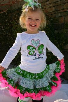 2016 new arrival design girls western valentine st patricks day outfit shirt full twirling skirt