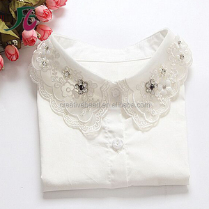 White Detachable Collar with Crystal Sequins and Pearls for Lady