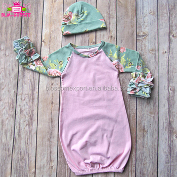 Hospital Going Home Outfit Baby Girl Sleeping Clothes Gift Baby Hat And Icing Raglan Sleeves Newborn Baby Gown Floral
