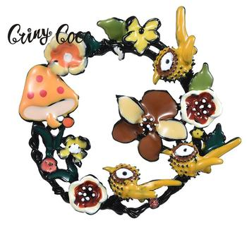 Cring Coco Big Flower Vintage Creative Brooches Pins Colorful Enamel Birds Mushroom Geometry Circle Brooch Jewelry for Girls Boy