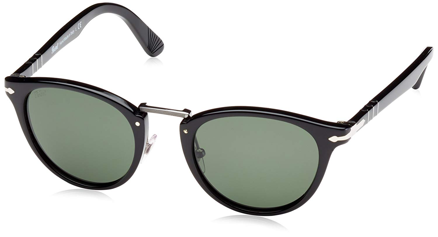 695c98d21f Get Quotations · Persol 95 31 Black Po 3108-s - Black Round Sunglasses Size  49mm