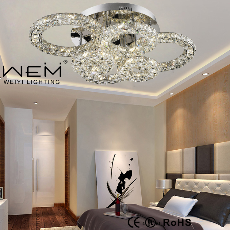 Hot Sale Rings Led 72W Crystal ceiling light Rings Modern Ceiling Lamp hotel lobby decoration crystal ceiling lamp