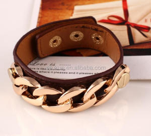 latest gold clasp armband bracelet chain cuff link leather bangle