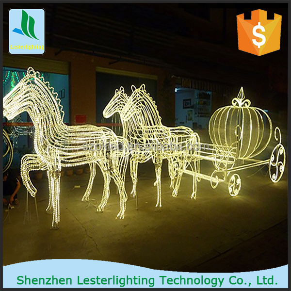 LED lighted white horse with pumpkin sleigh for wedding decorator centerpieces
