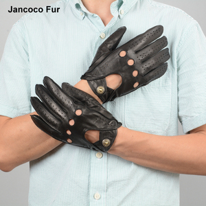 New Men Luxury Real Deerskin Gloves Autumn Winter Fashion Driving Mittens Genuine Leather Glove