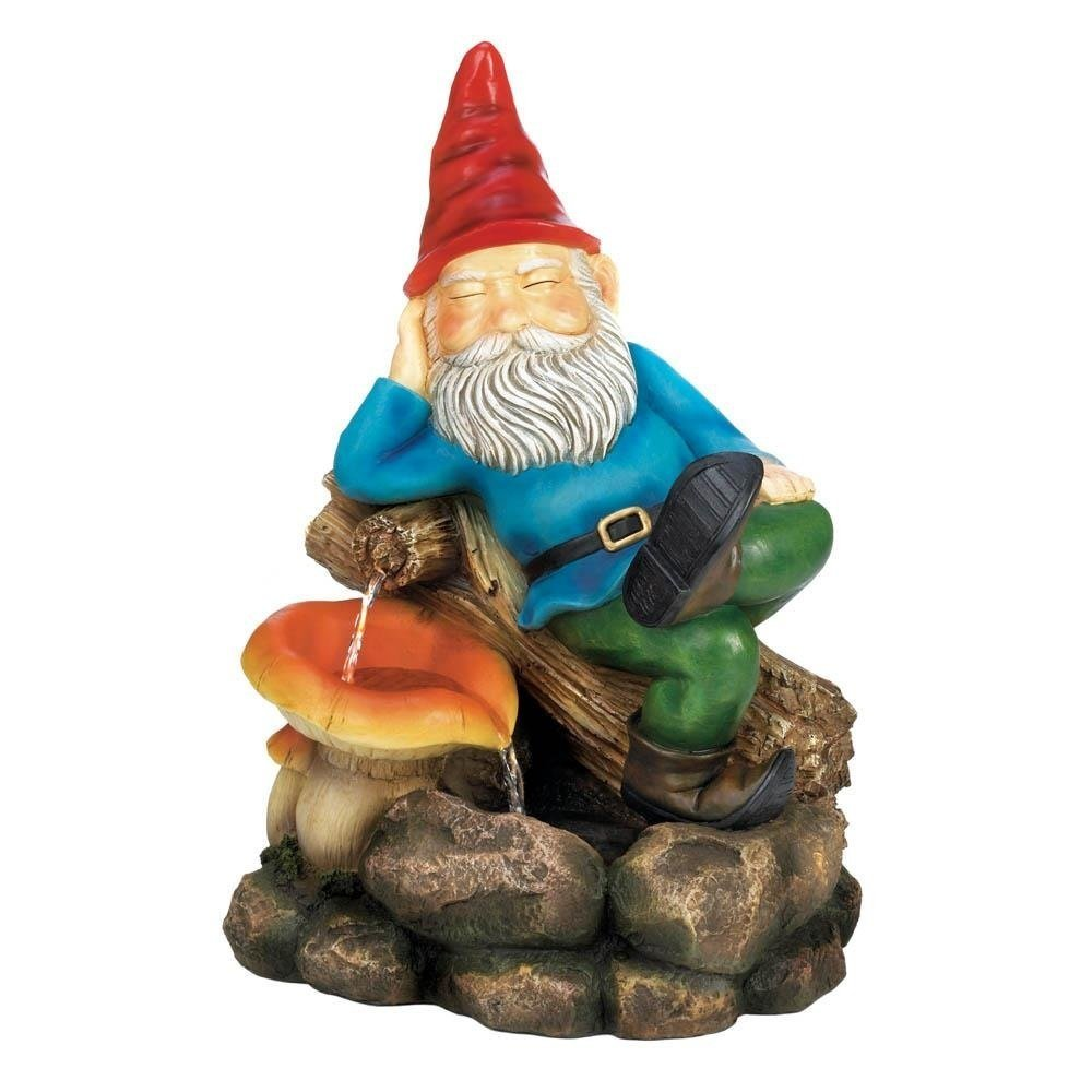 Water Fountain Pump, Relaxing Gnome Flower Garden Floor Outdoor Fountains