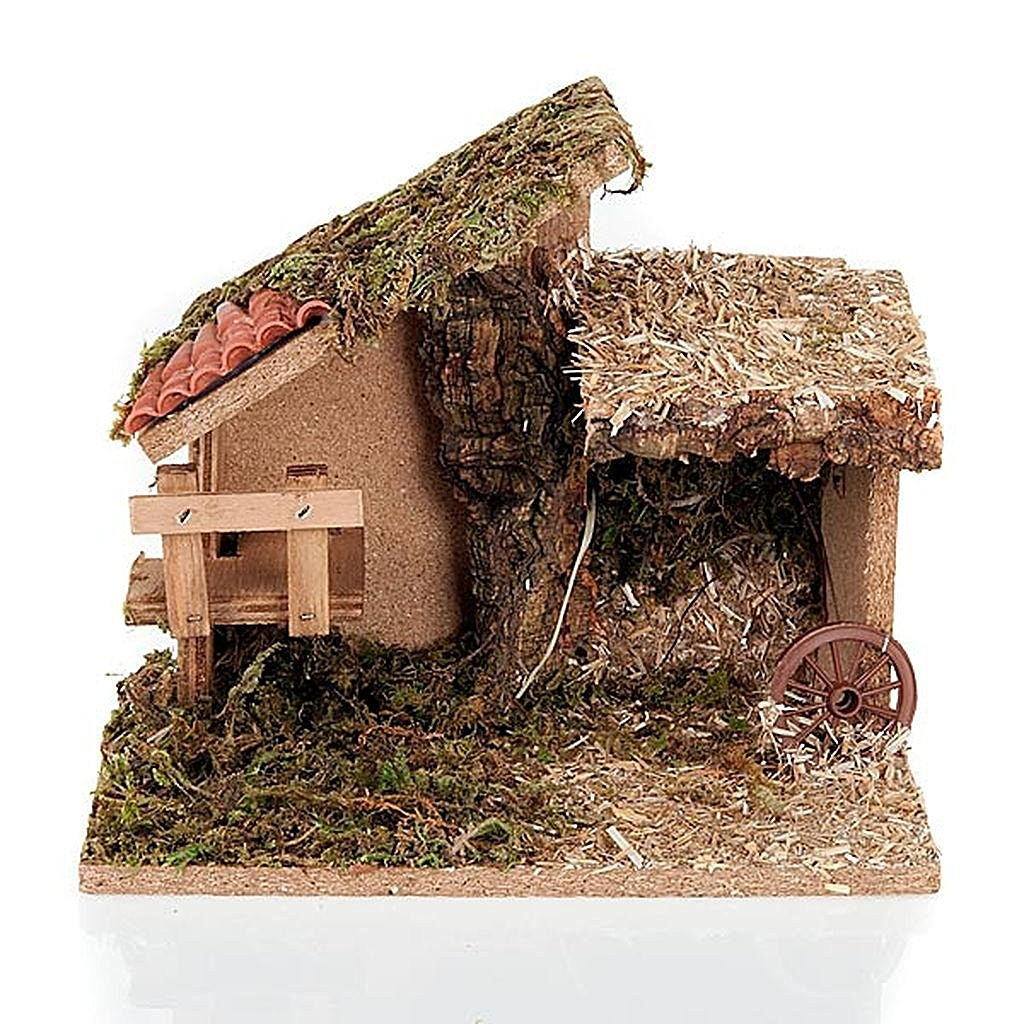Nativity stable with stairs and roof