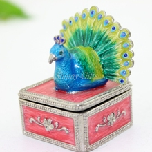 Shinny regalos china fabricante Pavo Real trinket Box metal joyero estaño caja