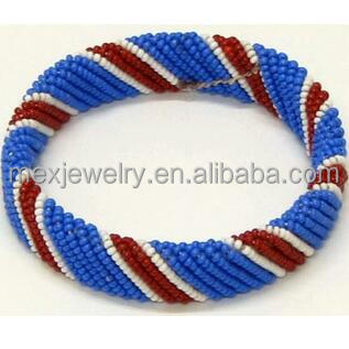 Maasai Blue White and Red Glass Bead Men Bracelet