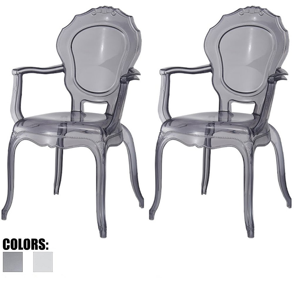 Get Quotations · 2xhome   Set Of Two (2)   Belle Style Ghost Chair Ghost  Armchairs Dining