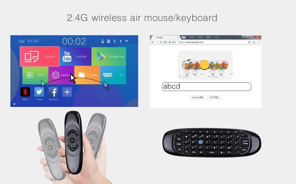 Fly Air Mouse Wireless Game Keyboard Rechargeable 2 4GHz