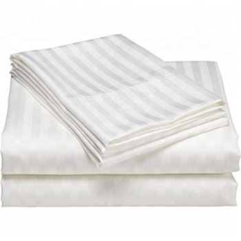 T300 cotton polyester stripe bed sheet for hotel and hospital