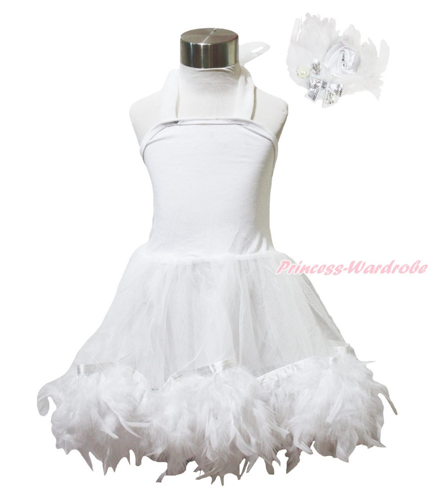 White Wedding One Piece Halterneck Gauze Dance Baby Girl POSH Feather Dress 1-7Y