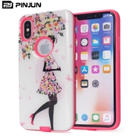 Cartoon painting epoxy hard pc soft rose tpu hybrid armor coque drop rubber phone case for iphone x luxury shell