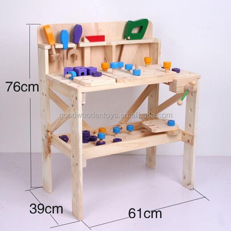 doen alsof spelen grote werkbank kinderen houten speelgoed tafel met gereedschap en accessoires. Black Bedroom Furniture Sets. Home Design Ideas