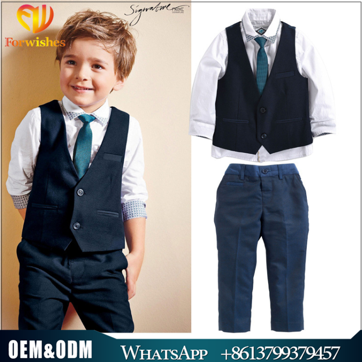 Fashion Wholesale High Quality Children Clothing Gentleman Boy Tie +Waistcoat +Shirt +Pants 3 pcs Suit Baby Sets