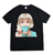 black/white color character print t shirt of couple apparel