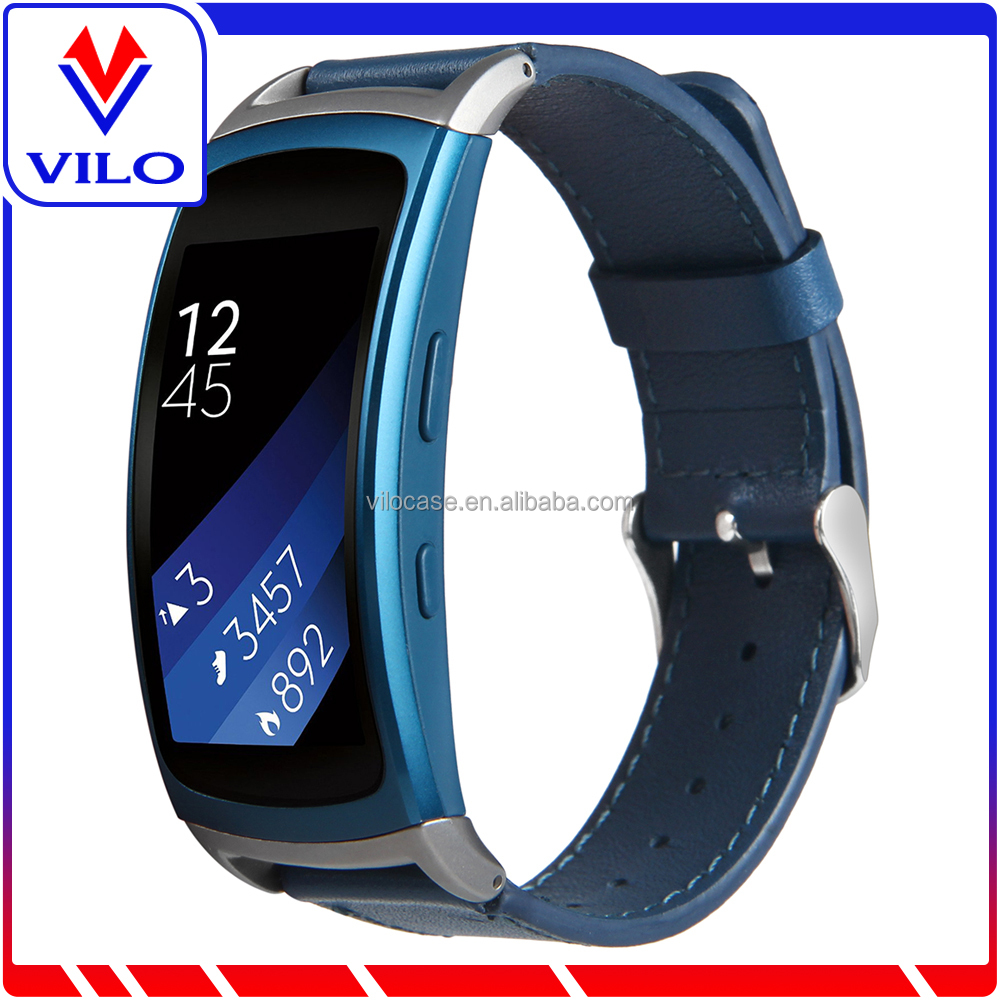 Gear Fit2 Watch Band Blue Fit 2 Leather Replacement Band Wristband For Gear 2