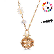 Rose Gold Plated AB Crystal Chain Hollow Flower Lava Stone Aromatherapy Essential Oil Diffuser Locket Necklace