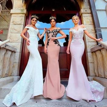 10c98307a49 Elegant Long Formal Dresses for Women 2018 Lace Off Shoulder Mermaid Sweep  Train Corset Bridesmaid Dresses
