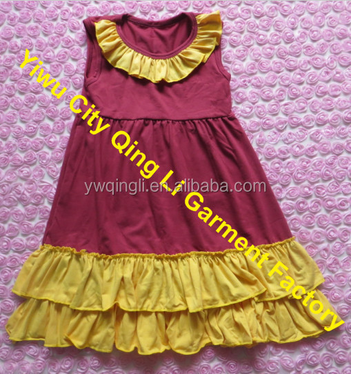 1e1c4790b Boutique Wholesale Baby Girls Fall Clothes Cute Kids Sleeveless Cotton Lap  Dresses With Ruffles